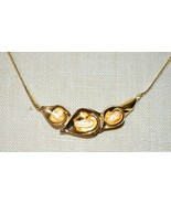 AVON Gold Tone Faux Pearl Three Lily Necklace Pendant Choker Vintage - $29.69