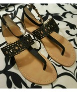 Women's Ivanka Trump Black Flat Sandals, Size 8 - $45.00