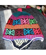 Peruvian Chullo, Hat with ear flaps, cap of Alpaca wool    - $28.00
