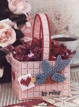 Plastic Canvas Valentine Basket Tissue Cover Mug Teddy Bear Angels Pattern - $6.99