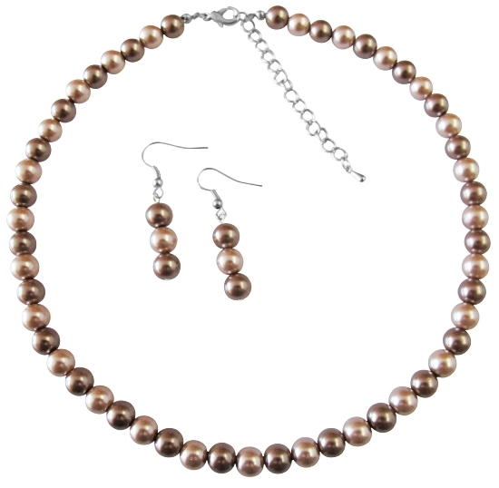 Under $10 Girls Gift Necklace Set Champagne Pearl & Bronze Pearls Prom