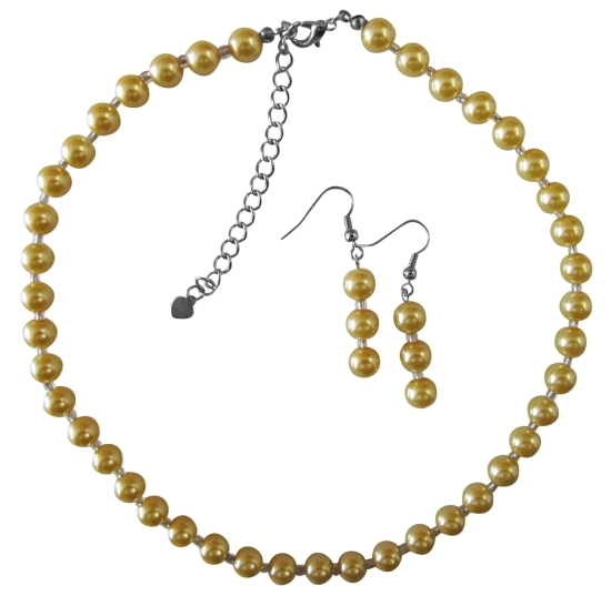 Yellow Pearl With Glass Beads Beautiful Gorgeous Necklace Set Wedding