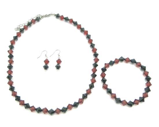 Red And Black Crystal Complete Set Wedding Chinese Black Red Crystals
