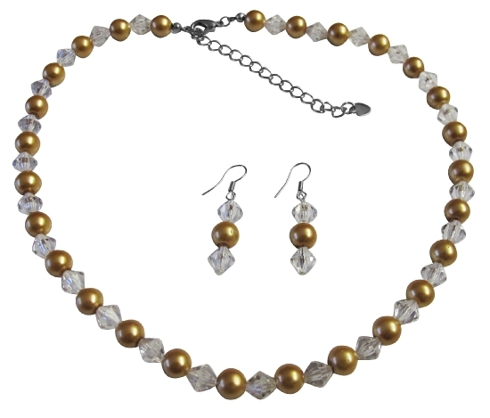 Clear Crystals Hazle Color Bridesmaid Jewlery Golden Pearl Faux Pearls