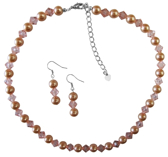 Peach Pearl And Chinese Orange Crystal Necklace Set Pearls perfect to