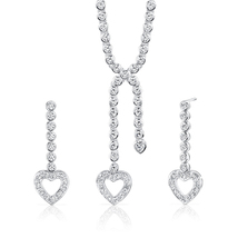 Sterling Silver 2 Carat Heart Pendant/Earring Set - $169.99