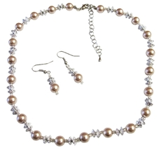 Cheap Affordable Prom Jewelry Champagne Pearls AB Chinese Crystals Set - $12.08