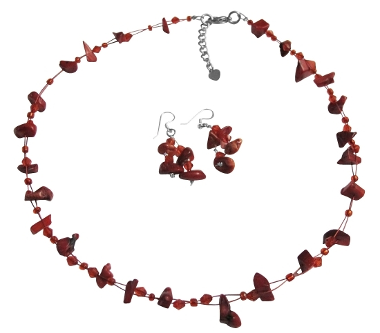 Coral Nugget Necklce Sets UNder $10 Jewelry Glass Beads  W/ Immitation