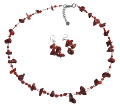 Coral Nugget Necklce Sets UNder $10 Jewelry Glass Beads  W/ Immitation - $12.08