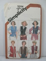 Simplicity Pattern 5294 Miss Size 10 Lined/Unlined Vest Embroidery Trans... - $12.86