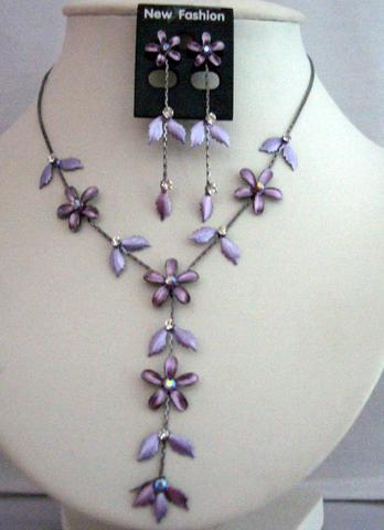 Summer Floral Purple Enameled Crystals Y Shaped Necklace Earrings Set