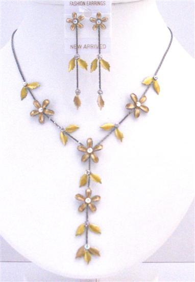 Floral Necklace Set Golden Yellow Jewelry Y Shaped Prom Necklace Set