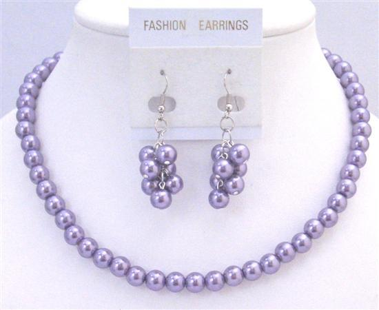 Victorian Lilac Necklace Set Inexpensive Under $10 Wedding Jewelry Set