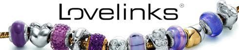 Lovelinks Sterling Glass Charm, Stripe, Black, New
