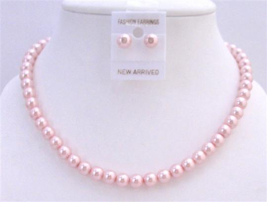 Wedding Pink Pearls Necklace w/ Stud Earrings Bridesmaid Jewelry