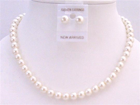 Cream Pearl Wedding Jewelry Set Cream Pearl Stud Earrings Necklace Set