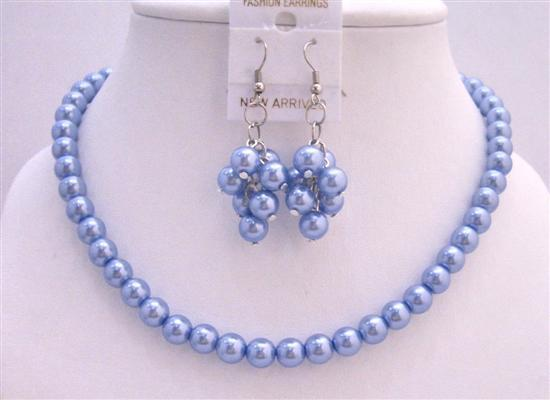 Delicate Aqua Blue Pearls Necklace Set with Bunches of Pearl Earrings