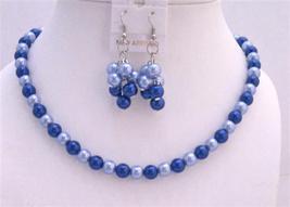Sophisticated Necklace Set Adorned w/ Lite & Dark Dark & Lite Blue Pea - $12.08