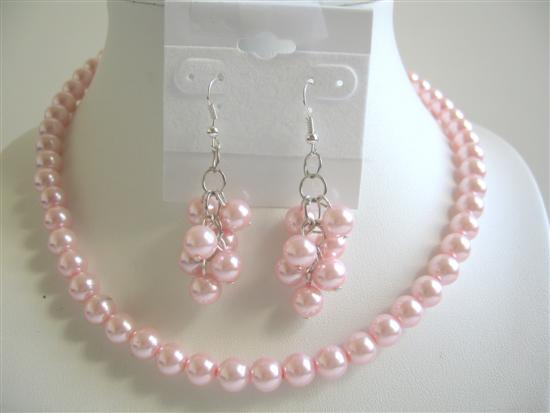Pink Pearls Jewelry Set Simulated Pink Pearls w/ Earrings Necklace Set