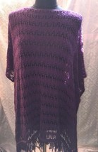United States Sweaters Womens One Size Purple Shawl Poncho Eggplant Sweater - $21.47