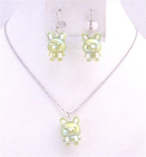 Green Rabit Easter Necklace & Earrings Cute Easter Gift Girls Jewelry