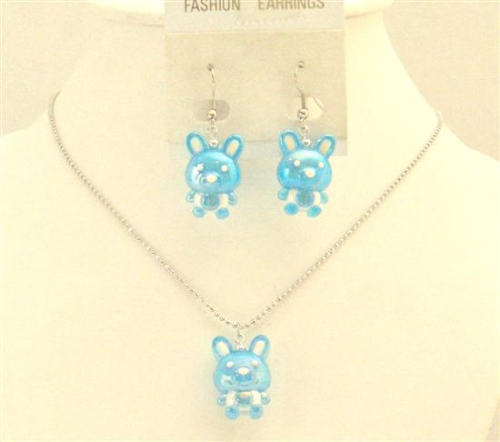 Easter Blue Rabit Necklace & Earrings Cute Easter Gift Girls Jewelry