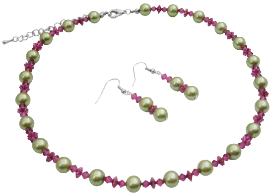Match Your Dress Combo Lime Green & Fuchsia Crystals Jewelry Set