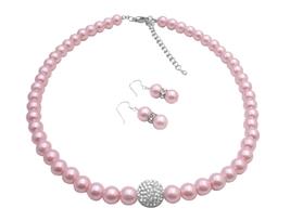 Sparkling Like Read Diamon Rose Faux Pearls Necklace & Earrings Set - $27.03
