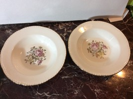 Beautiful Vintage Pair of Homer Laughlin Floal with Gold Rim Soup Bowls - $5.94