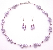 The Perfect Prom Wedding Flower Girl Jewelry Lilac Pearls & Amethyst C - $25.73
