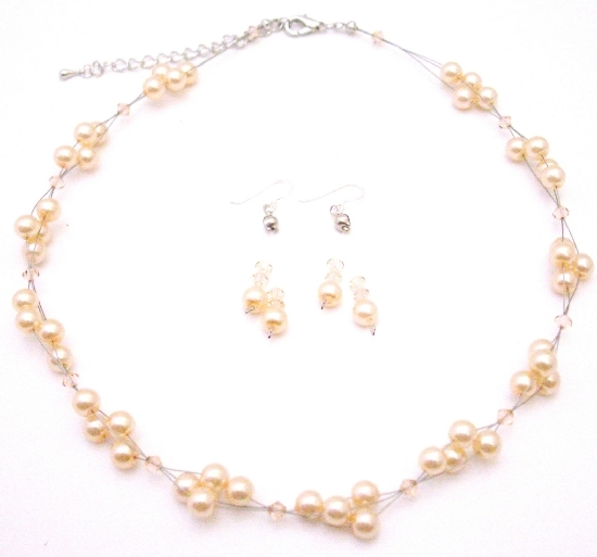 Can Customize For Flower Girls Swarovski Peach Crystals & Faux Pearls