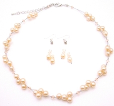 Can Customize For Flower Girls Swarovski Peach Crystals & Faux Pearls - $25.73
