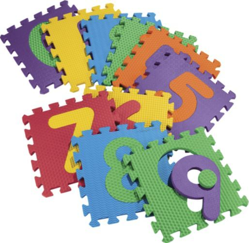 """Foam Numbers Floor Puzzle Play Mat 12"""" x 12"""" x 5/8"""" Tiles with Storage Case"""