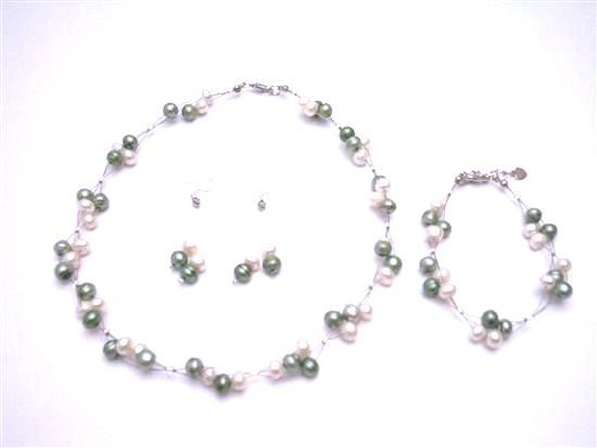 Customize Your Wedding Prom Flower Girl Jewelry Freshwater Pearl Green