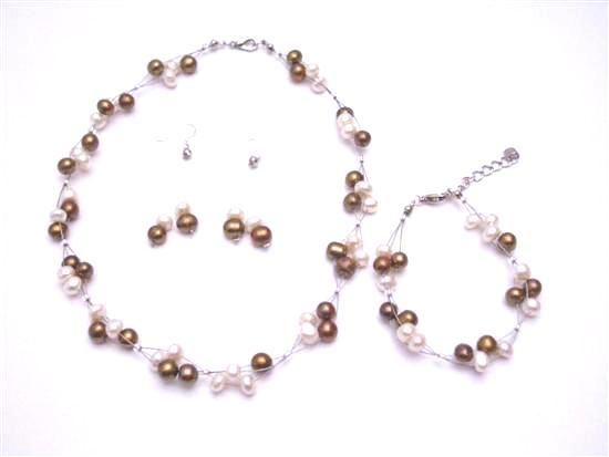 Silky Beautiful Jewelry Freshwater Pearl Bronze & Ivory Potato Shaped