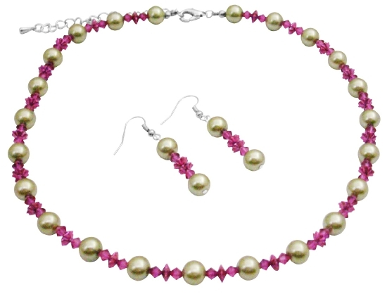 Lime Green Faux Pearls & Swarovski Fuchsia Crystals Wedding Jewelry