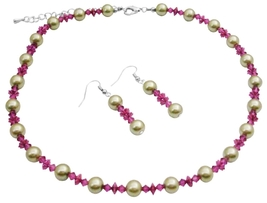 Lime Green Faux Pearls & Swarovski Fuchsia Crystals Wedding Jewelry - $24.43