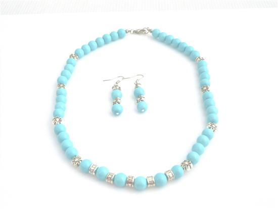 Prom Blue Vintage Turquiose Pearls & Bali Siver Spacer Jewelry Set