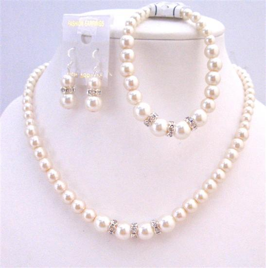 Bridal Bridesmaid Wedding Ivory Pearl Jewelry Set W/ Silver Diamante S