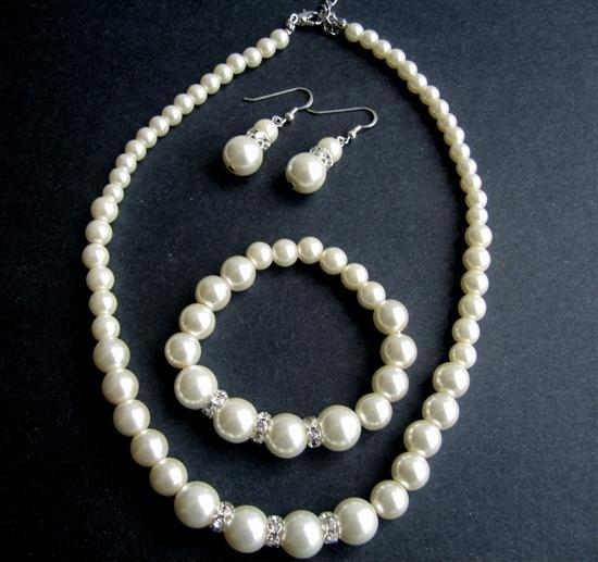 Faux Cream Pearl Bridesmaide Jewelry Set Sterling Silver 92.5 Earrings