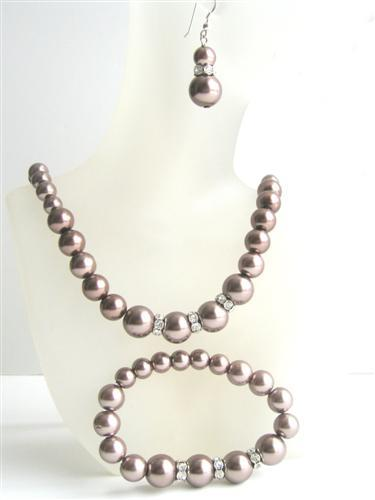 Bronze Brown Pearls Bridesmaide Jewelry Set Simulatd Brown Pearl Neckl