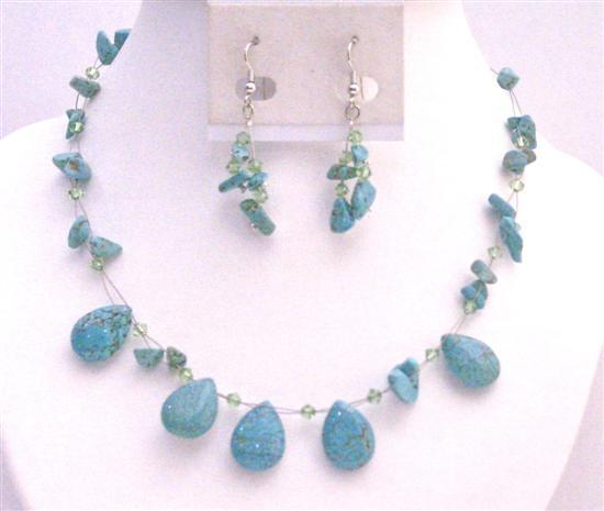Turquoise Nugget Chips Teardrop Peridot 4mm Swarovski Crystals Jewelry