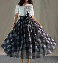 Womens Red Plaid Skirt Long Tulle Plaid Skirt - Red Check,High Waist, Plus Size image 9