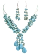 Turquoise Stone Interwoven 5 Stranded Silk Thread Drop Down Necklace - $26.38
