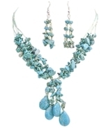 Turquoise Stone Interwoven 5 Stranded Silk Thread Drop Down Necklace - €22,50 EUR