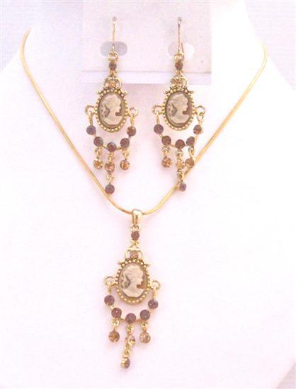 Cameo Lady Pendant Necklace & Earrings Aquamarine Sapphire Crystals
