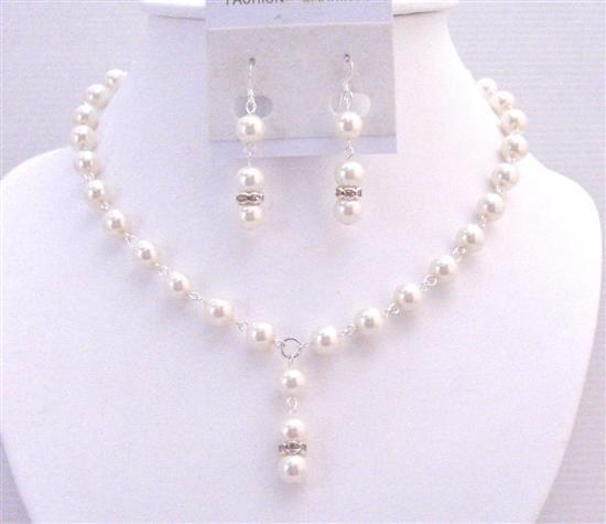 White Pearl Necklace Set Exclusively Affordable Wedding Jewelry Bridem