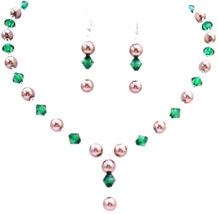Women Jewelry Handmade Bronze Brown Pearls & Emerald Chinese Crystals - $23.78