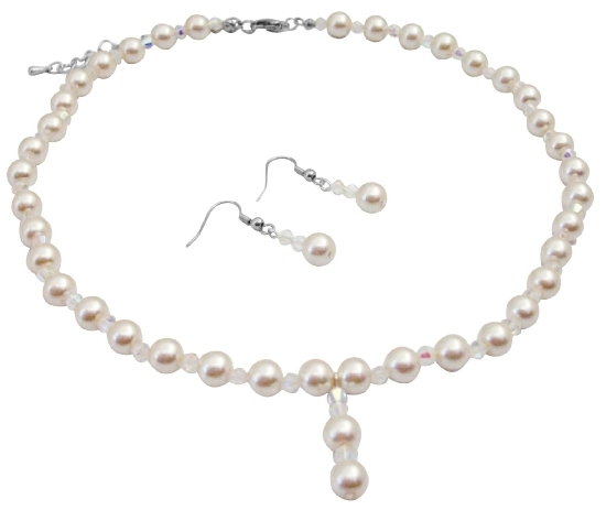 Ivory Pearl AB Crystals Necklace Sets Chines Crsystals At Affordable I