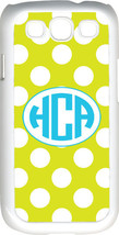 Circle Monogram Mustard Yellow and White Polka Dot Samsung Galaxy S3 Case Cover - $15.95